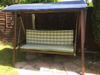 3 Seater High Quality Wooden Garden Swing Hammock Bench + Mattresses RRR £400