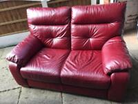 Leather 2 seater sofa and reclining chair