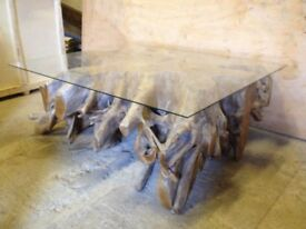 NEW, RECLAIMED TEAK ROOT COFFEE/DINING TABLE, TOUGHTENED GLASS 1350x465 H820