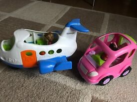 Fisher Price Little People aeroplane and all around car in excellent condition