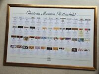 Chateau Mouton Rothschild labels framed poster