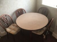 Retro 1970s Solid Wood circular kitchen table and 4 chairs