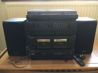 Sharp Compact Disc Stereo Music System including turntable and manual