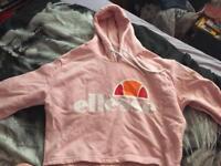 Ellesse Cropped Pink Hoodie