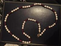 9kt Gold Pearl and Water Ruby Necklace
