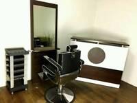 Hair salon package, reception desk, barber chair, mirror, trolley