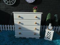 SOLID PINE FARMHOUSE CHEST OF DRAWERS WITH 4 LARGE DRAWERS PAINTED WITH LAURA ASHLEY PALE DOVE