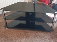 Black Glass TV Stand Mint Condition