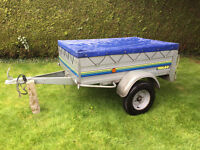 Trelgo Tipping Car Trailer - Galvanized, no rust, cover, good tires, great condition, hardly used.