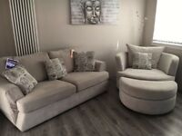 IMMACULATE Beige 3 seater sofa + cuddle chair + footstool