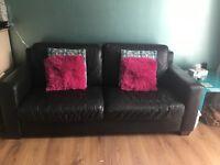 Natuzzi black leather sofa, 2 chairs.