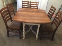 Shabby chic dining table and chairs