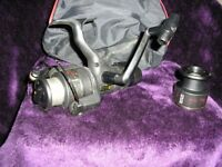 FISHING REEL CORMORAN BITE ALARM REEL WITH SPARE SPOOL AND CASE