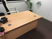 2 lightwood office desks