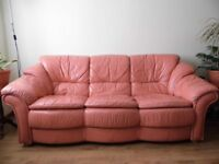 3 seater + 2 chairs leather sofa for sale - Just £50