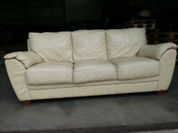 White/Cream Leather Couch Sofa - DELIVERY AVAILABLE