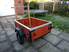 Wooden trailer with electrics
