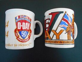 D-Day and VE-Day 50th Anniversary commemorative mugs