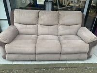 Grey seude suite of furniture with reclining armchairs