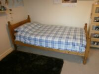 Single bed with mattress, pine frame, classic style, good condition