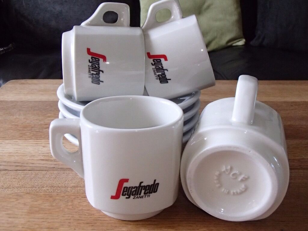 SEGAFREDO CAPPUCCINO LATTE ESSPRESSO COFFEE CUPS AND SAUCERS (SET OF 4)