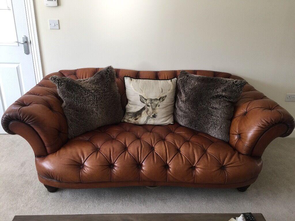 Chesterfield Leather Oskar Sofa Wing Arm Chair Dfs