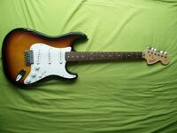 Great condition fender squire with amp , bag and lead