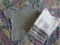 8-Boys Short Sleeved Cotton T-Shirt Vests, Age 4-5Yrs.