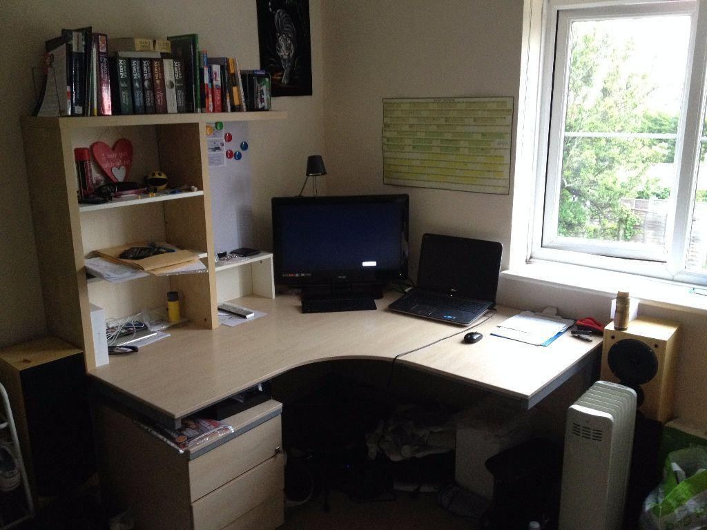 Large Corner Wooden Office Desk With Drawers Extra