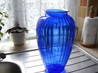 Large blue glass vase