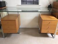Glass and Chrome Desk with Light Wood Drawers