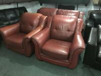 Red leather 2 11 Sofa set
