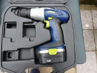 Xtreme 14.7 cordless drill with a selection of handtools ,used including DIY tray