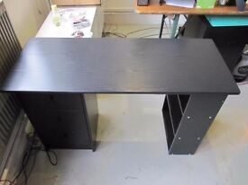 1 Desk Black: Size: 120cm wide x 48cm deep x 71cm high with drawers. Old Street