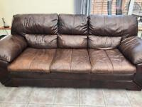 3 seater sofa & chair brown leather