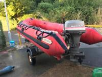 4m rib 40hp outboard and trailer boat
