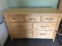 Light Wood coloured Sideboard or chest of drawers