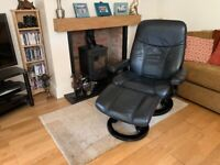 Ekornes Stressless Black Swivel Recliner Leather Chair And Matching Stool