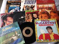 "7"" vinyl selection movie titles rocky crocketts theme Adam ant Paul mccartney etc"