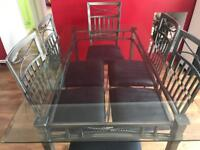 GLASS DINING TABLE SET WITH 6 CHAIRS