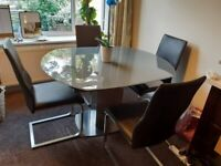 Opaque glass dining table x4 chairs