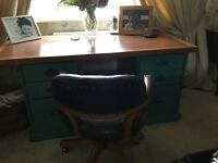 John Lewis of hungerford office desk six drawers teal blue