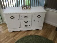 Shabby chic lovely white solid sideboard with original handles