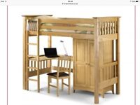 Barcelona Bedsitter Bunk suitable for children. Comprises a raised bed with desk and wardrobe