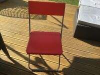 """6 x IKEA RED PLASTIC """"JEFF"""" FOLDING CHAIRS. GOOD CONDITION"""
