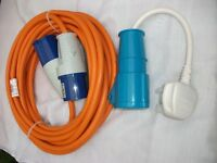 Motorhome/caravan mains lead with continental converter lead