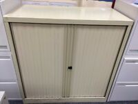 Locking Bisley Cream Metal Tambour Storage Cabinet With Shelves & Hanging File Drawer