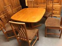 Table and 6 chairs Danish delivery poss