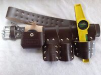 BROWN LEATHER TOOL SET BELT WITH MAGNETIC LEVEL