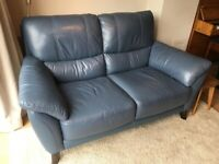 Blue leather 2 seater sofa DFS